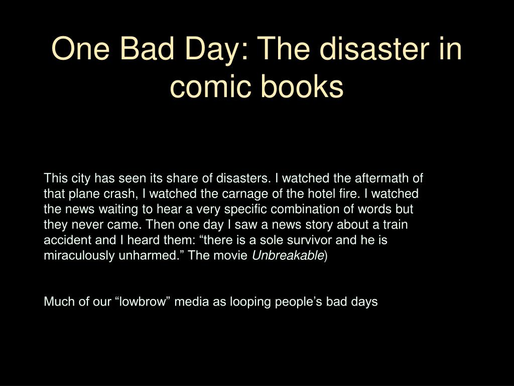 One Bad Day: The disaster in comic books