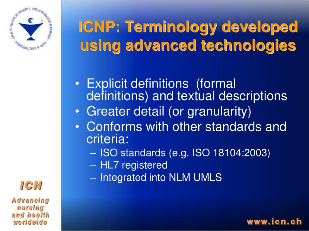 ICNP: Terminology developed using advanced technologies