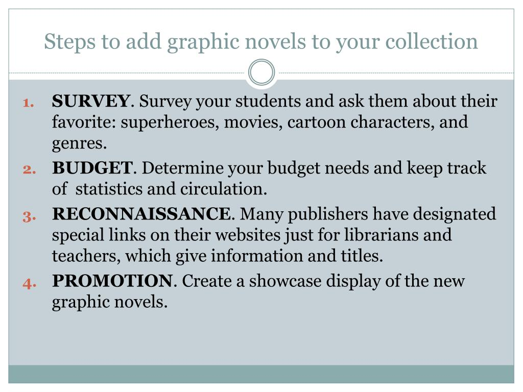 Steps to add graphic novels to your collection