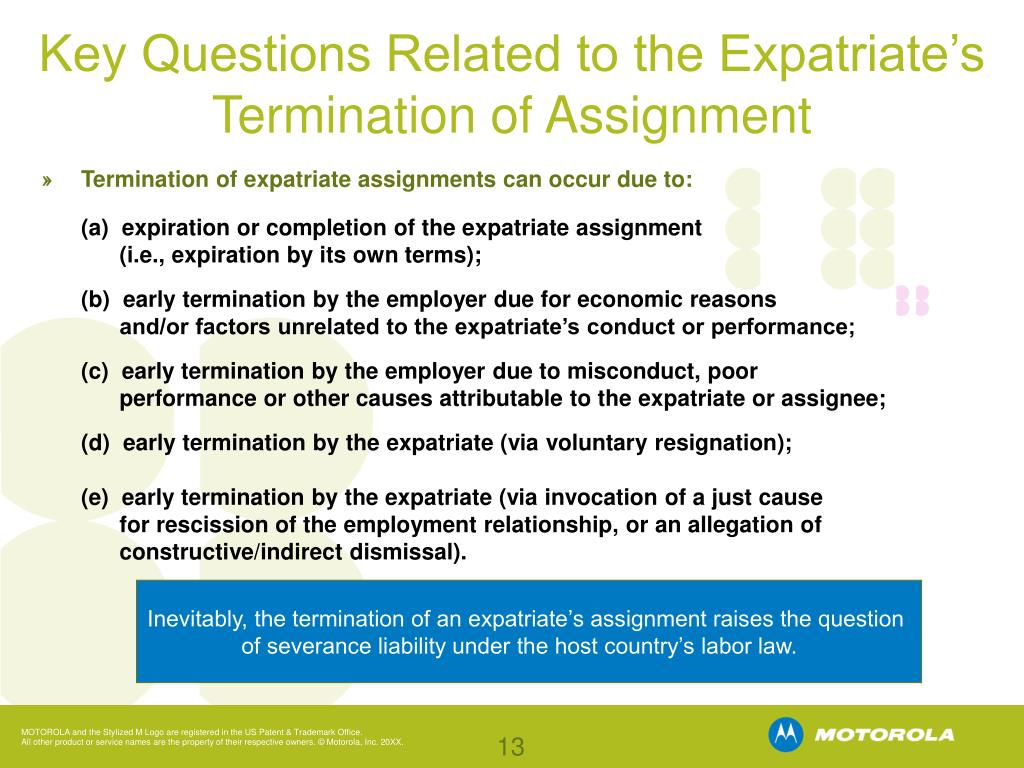 Key Questions Related to the Expatriate's Termination of Assignment