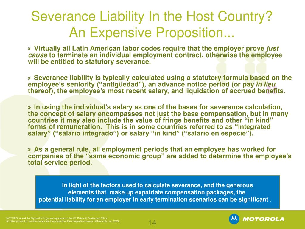 Severance Liability In the Host Country?