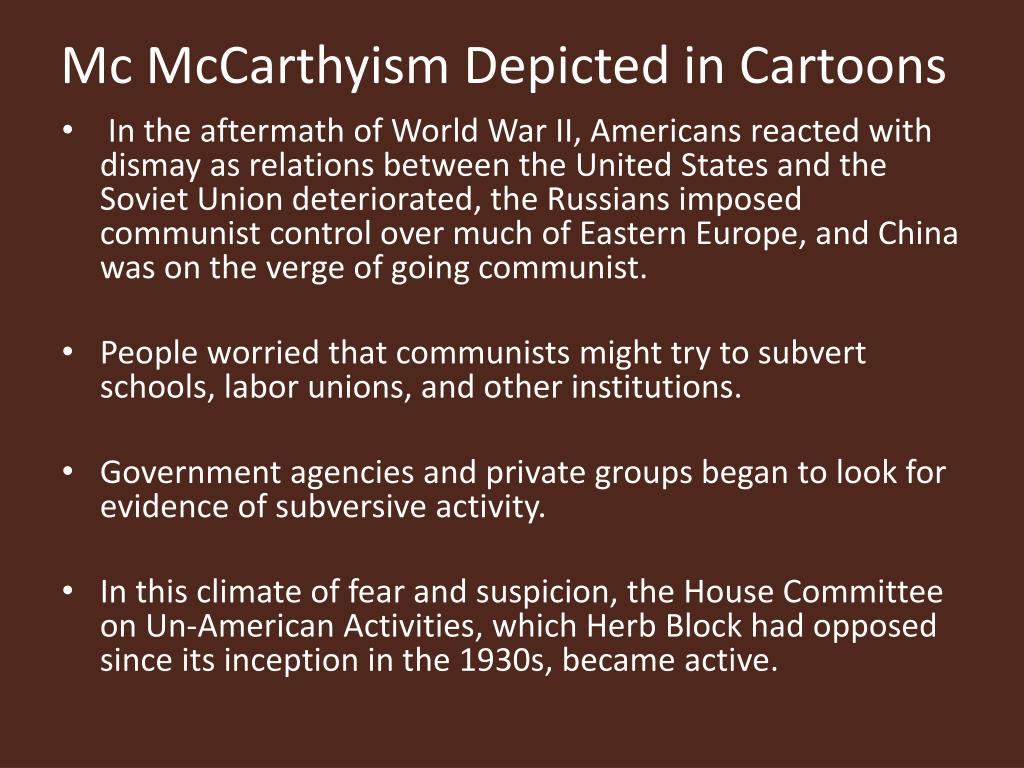 Mc McCarthyism Depicted in Cartoons
