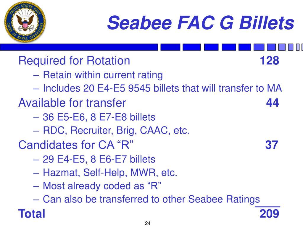 Seabee FAC G Billets