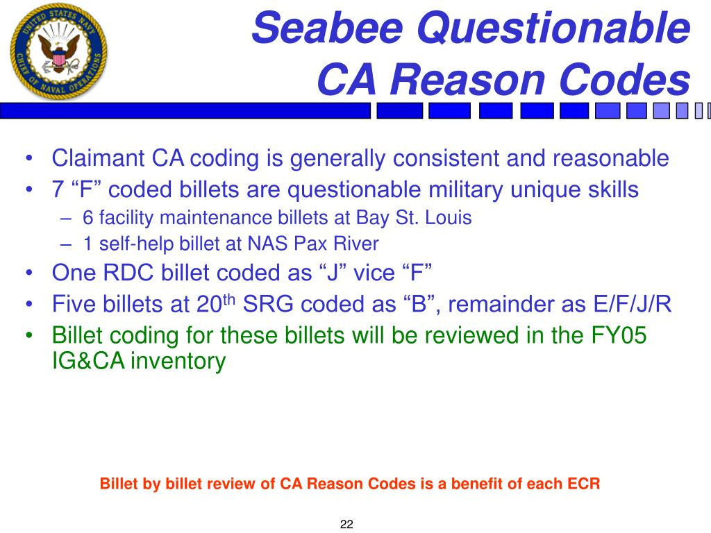 Seabee Questionable             CA Reason Codes