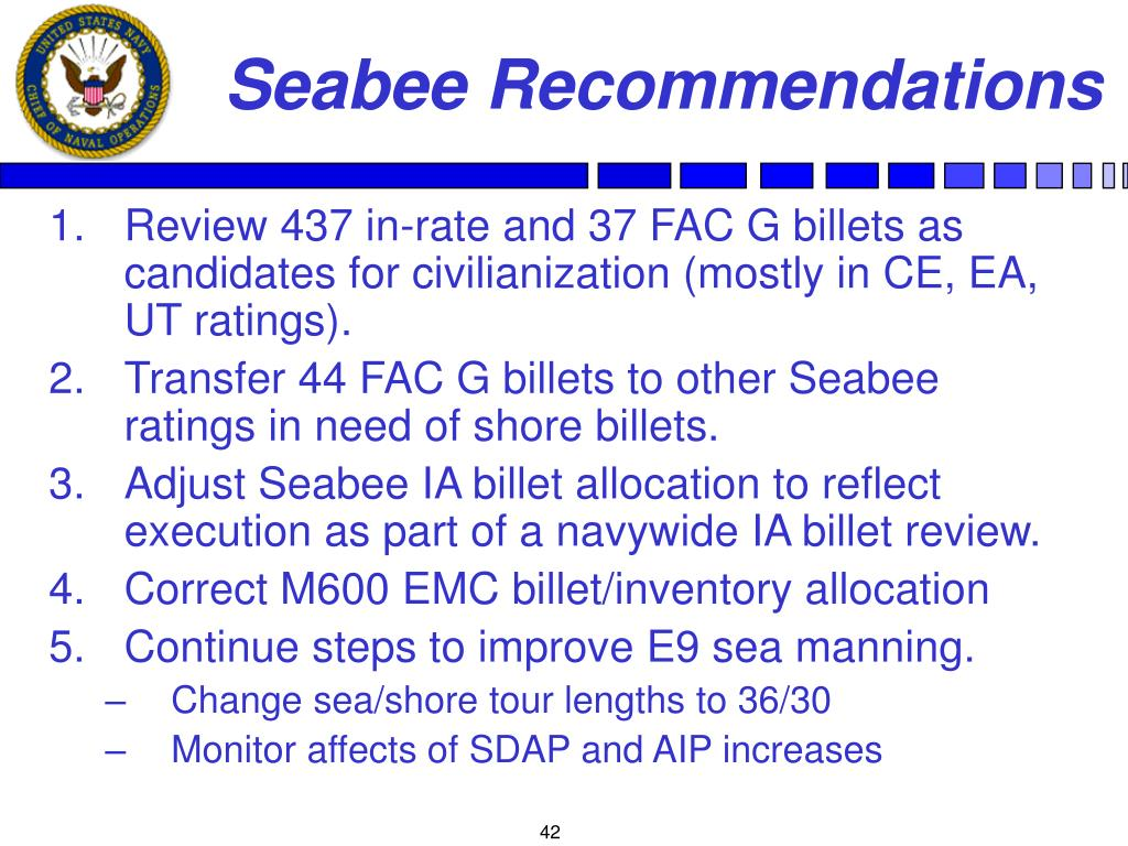 Seabee Recommendations