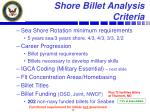 shore billet analysis criteria