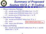 summary of proposed seabee igca j r coding