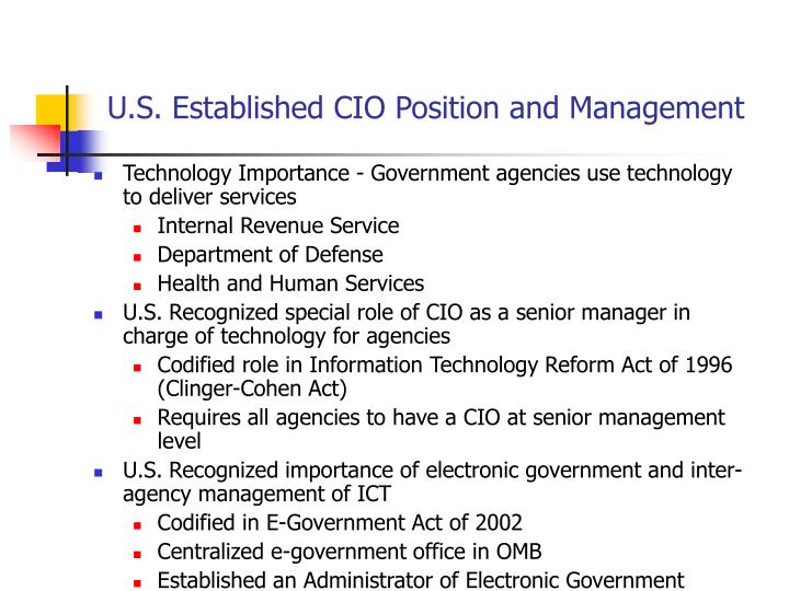 U s established cio position and management l.jpg