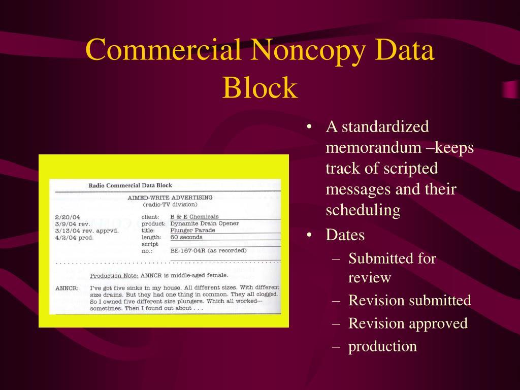Commercial Noncopy Data Block