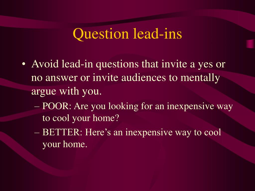 Question lead-ins
