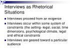 interviews as rhetorical situations
