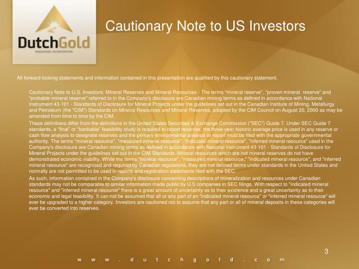 Cautionary note to us investors