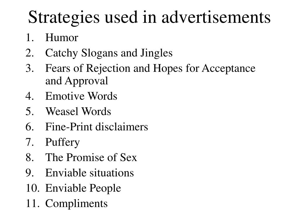Strategies used in advertisements