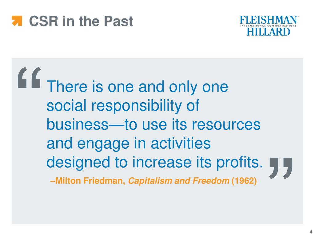 CSR in the Past
