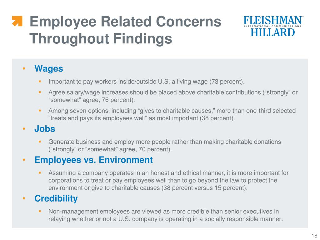 Employee Related Concerns Throughout Findings