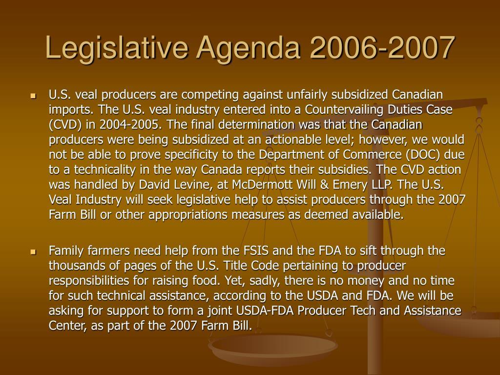 Legislative Agenda 2006-2007