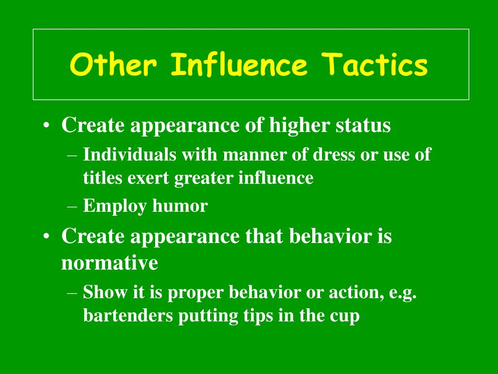 Other Influence Tactics