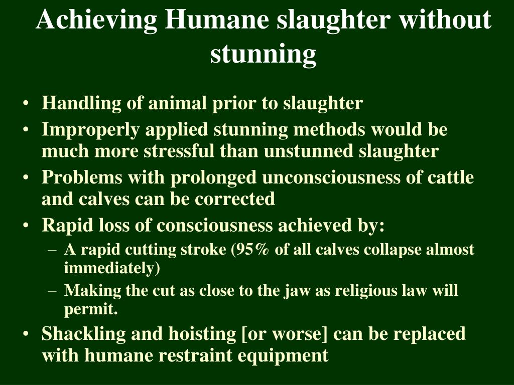 Achieving Humane slaughter without stunning