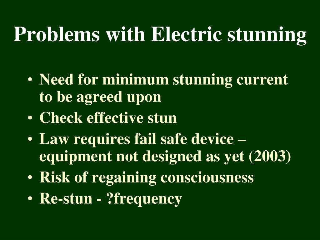 Need for minimum stunning current to be agreed upon
