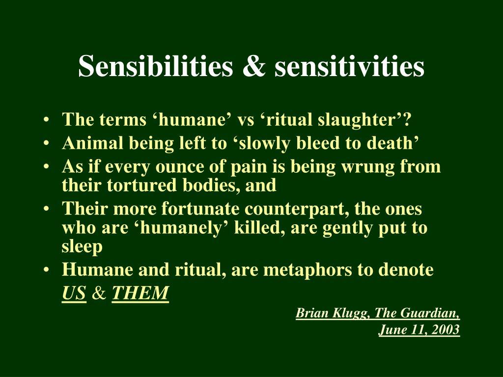 The terms 'humane' vs 'ritual slaughter'?