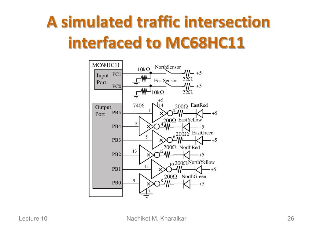 A simulated traffic intersection interfaced to MC68HC11