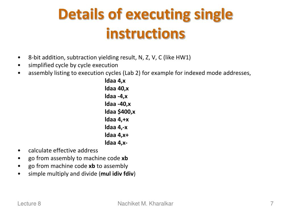 Details of executing single instructions