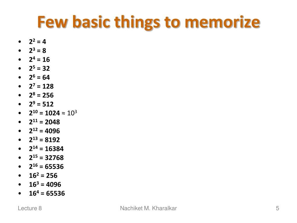 Few basic things to memorize