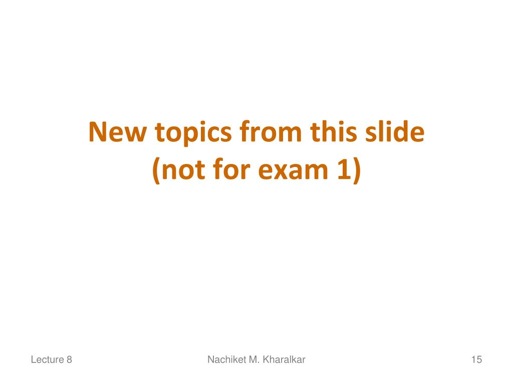 New topics from this slide