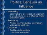 political behavior as influence