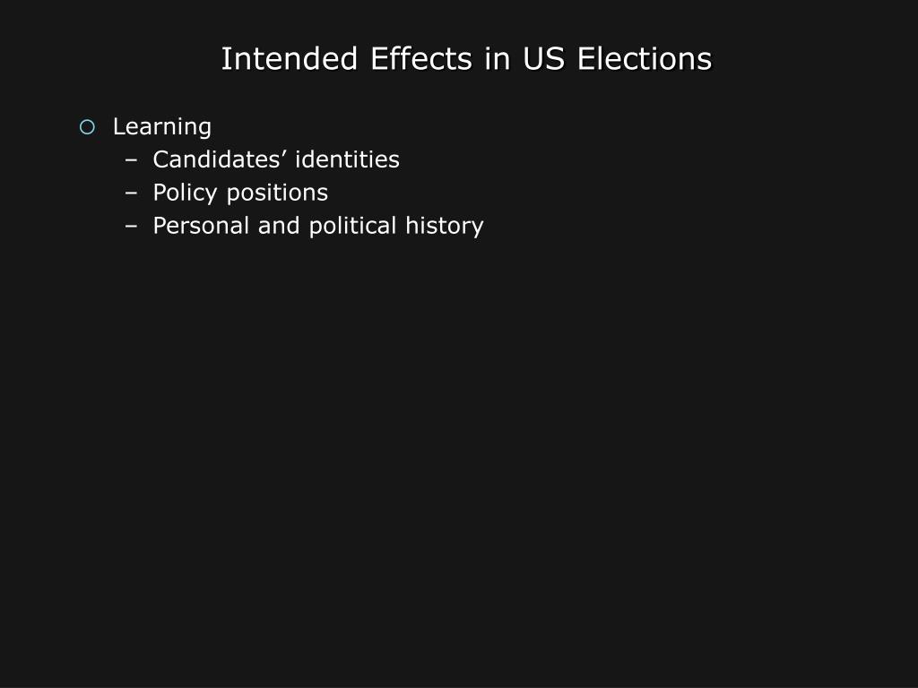 Intended Effects in US Elections