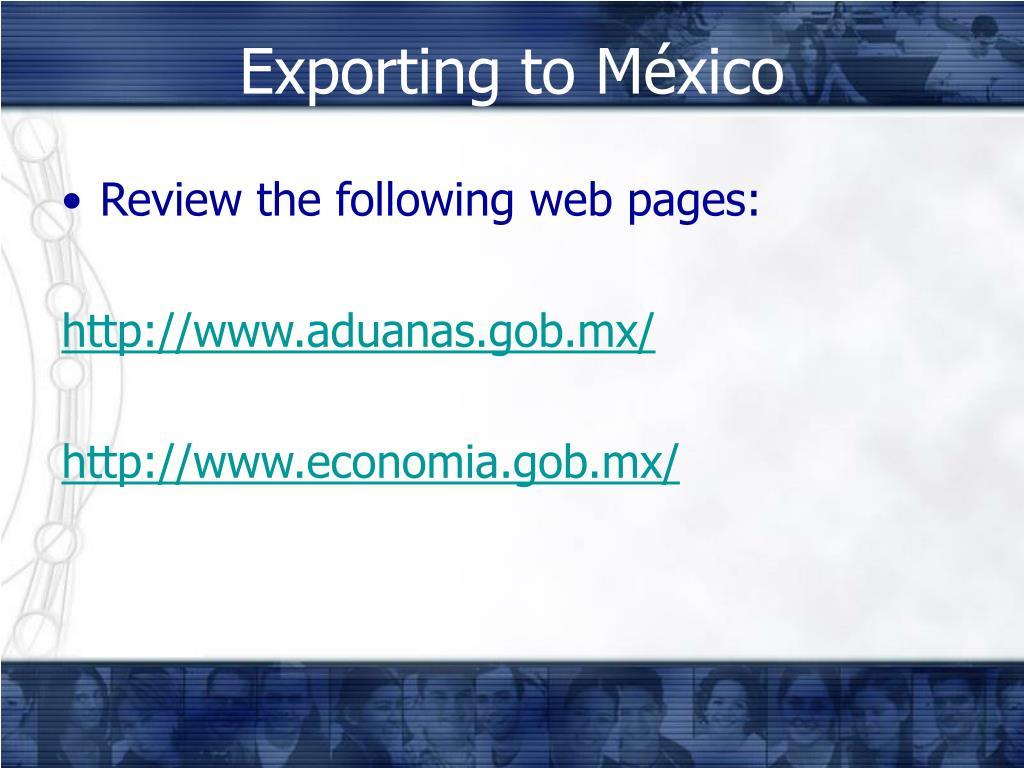 Exporting to México