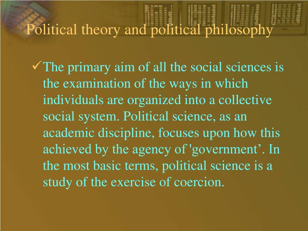 Political theory and political philosophy