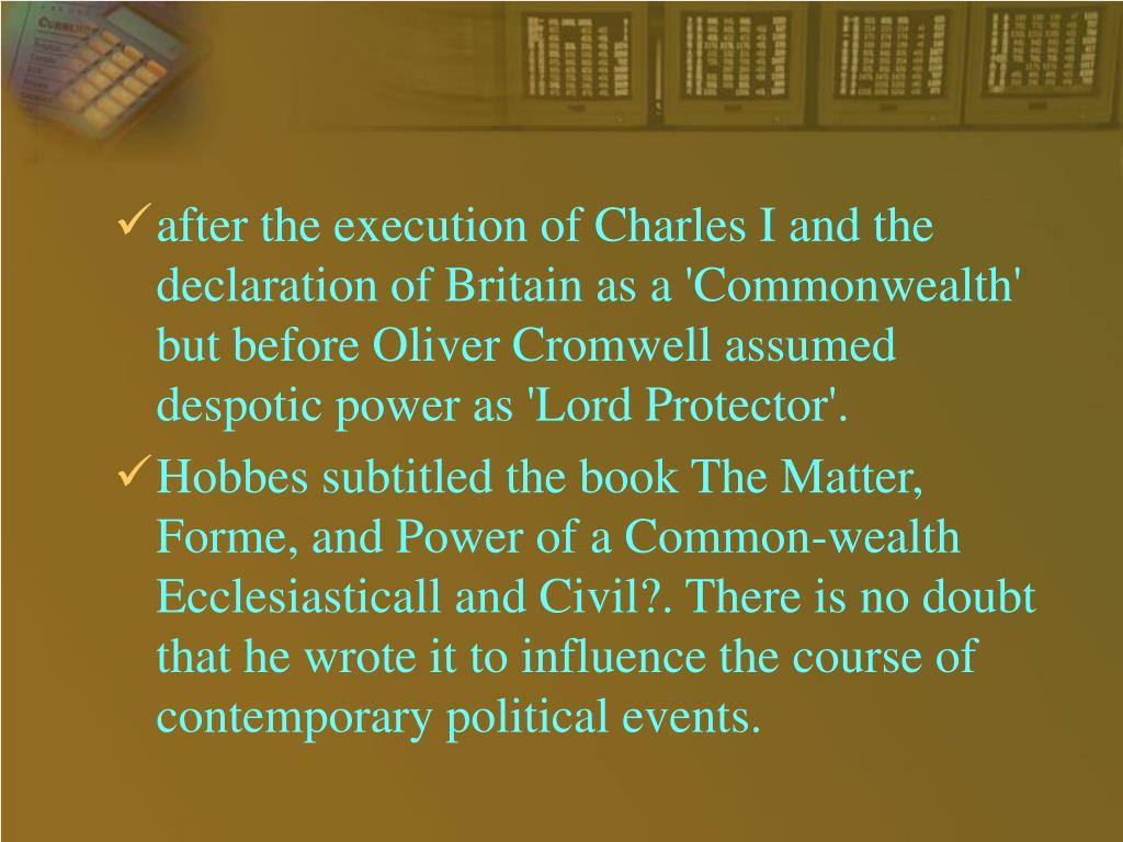 after the execution of Charles I and the declaration of Britain as a 'Commonwealth' but before Oliver Cromwell assumed despotic power as 'Lord Protector'.
