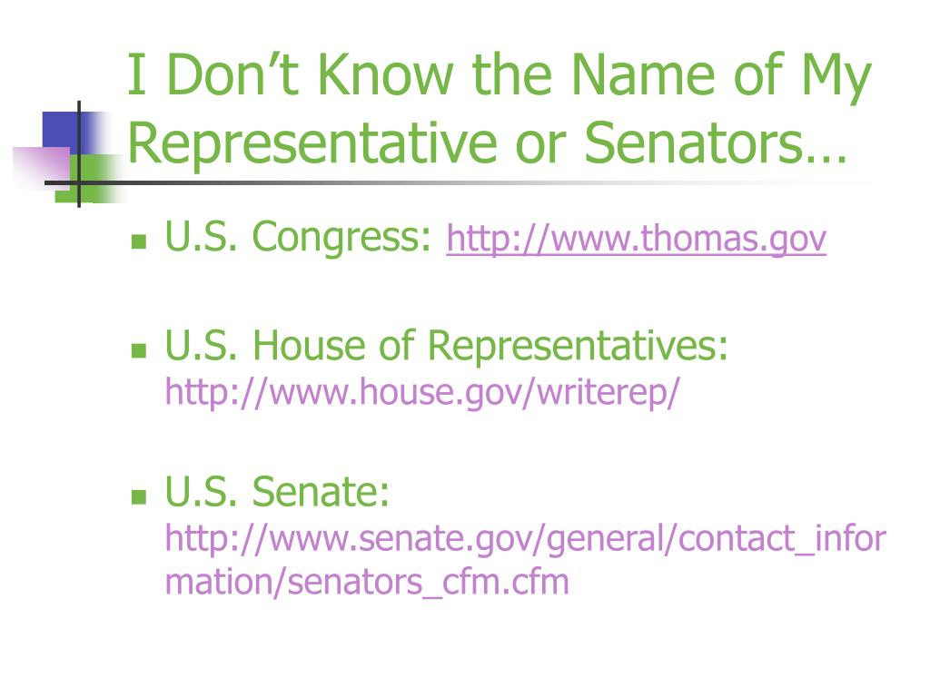 I Don't Know the Name of My Representative or Senators…