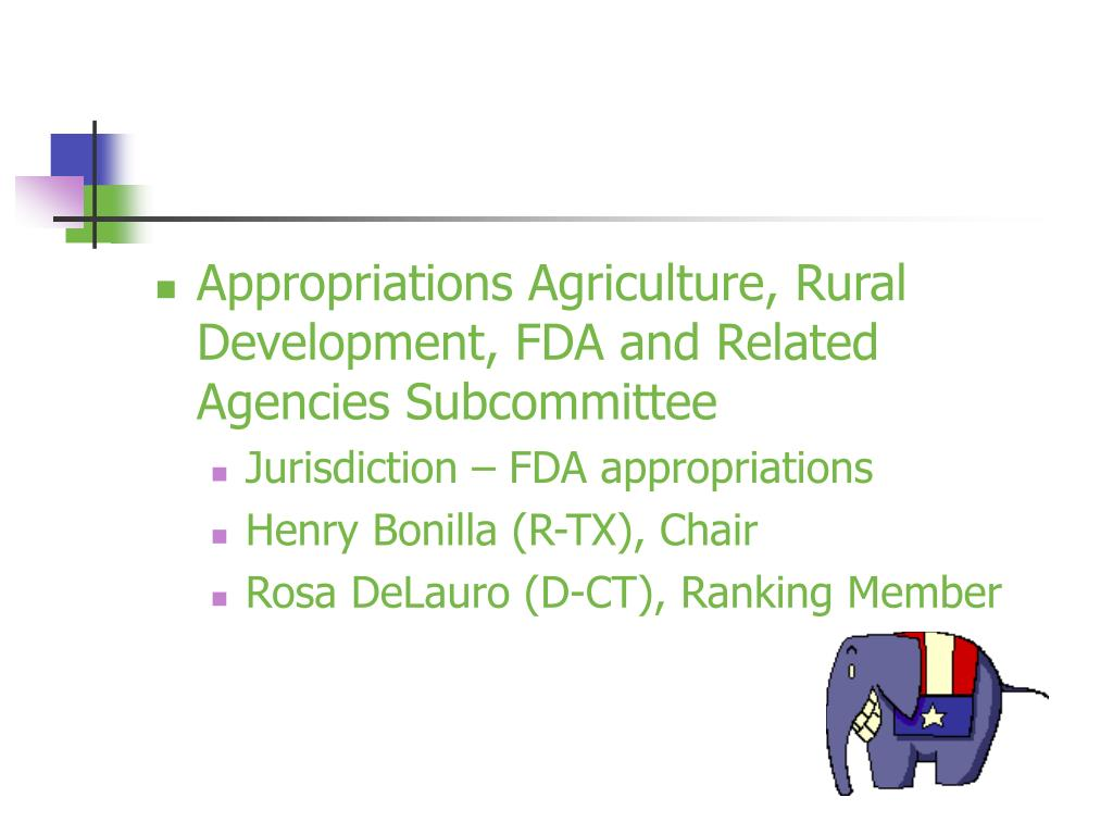 Appropriations Agriculture, Rural Development, FDA and Related Agencies Subcommittee