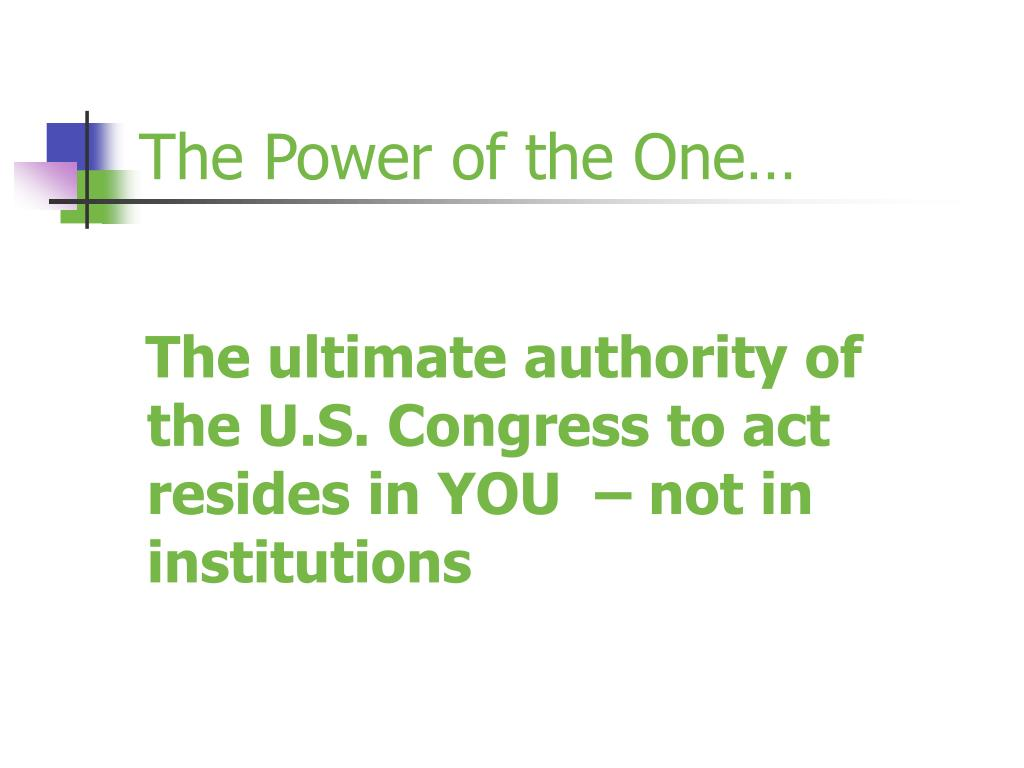 The Power of the One…