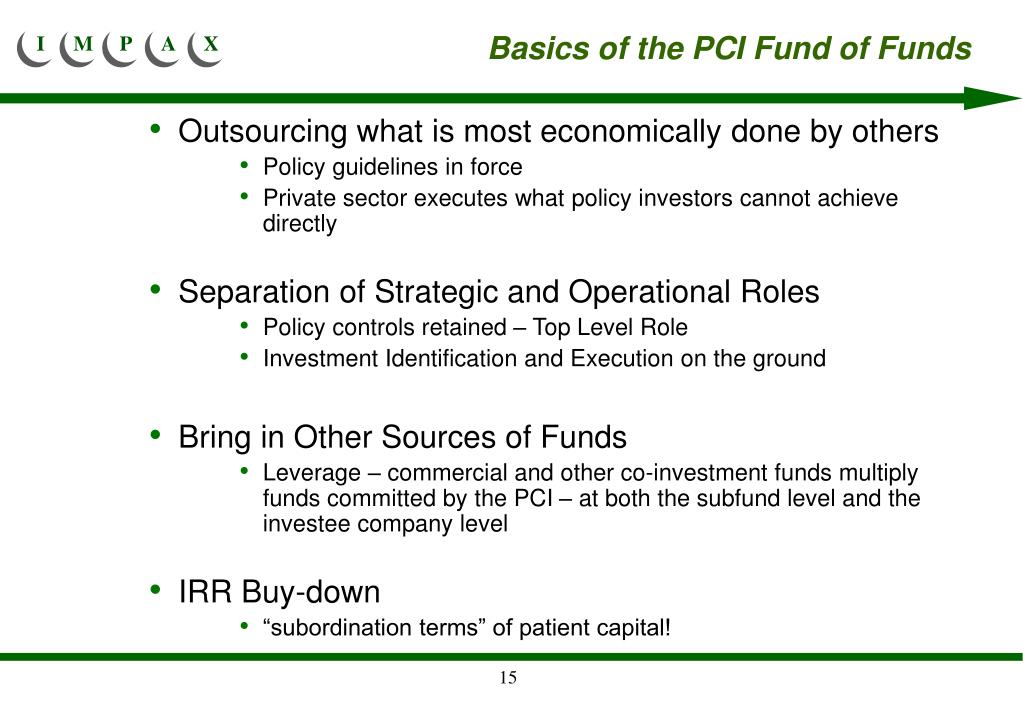 Basics of the PCI Fund of Funds