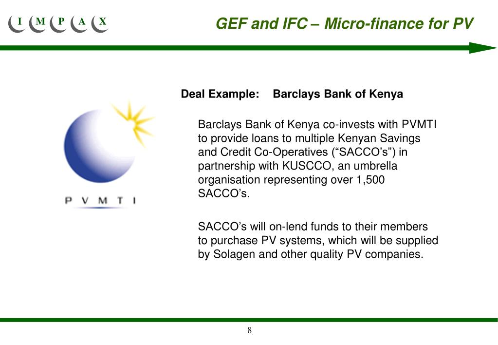 GEF and IFC – Micro-finance for PV