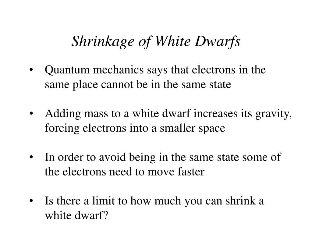 Shrinkage of White Dwarfs