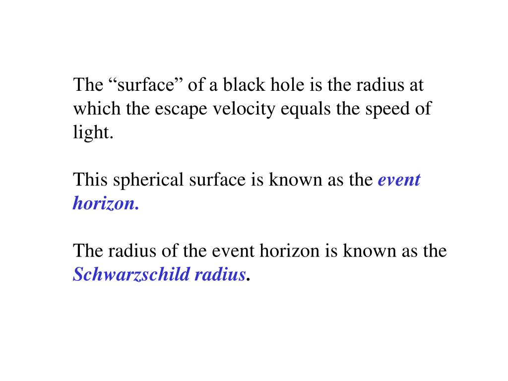"The ""surface"" of a black hole is the radius at which the escape velocity equals the speed of light."