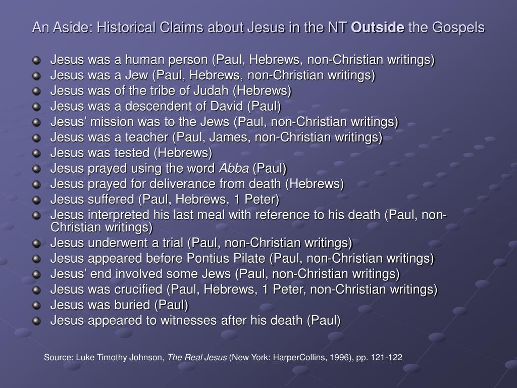 An Aside: Historical Claims about Jesus in the NT