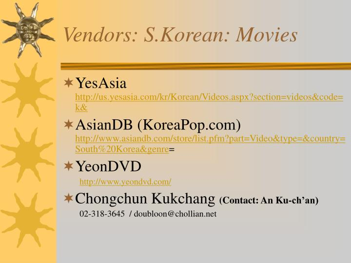 Vendors s korean movies