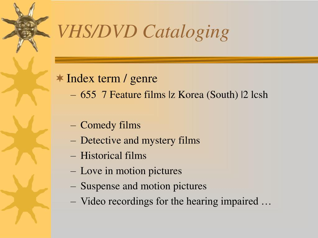 VHS/DVD Cataloging