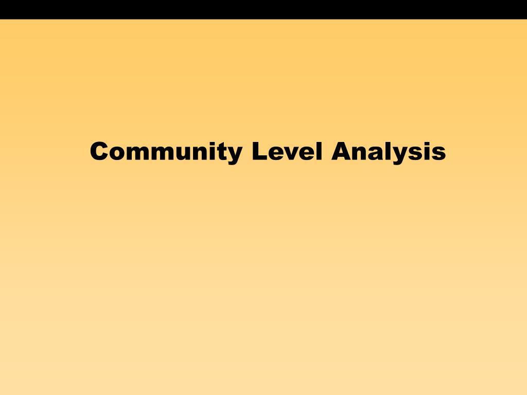 Community Level Analysis