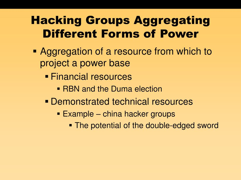 Hacking Groups Aggregating Different Forms of Power