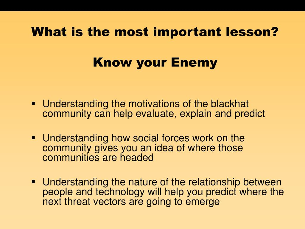 What is the most important lesson?