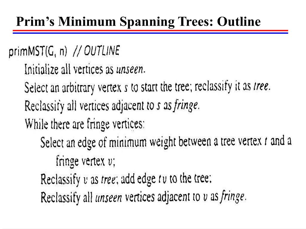 Prim's Minimum Spanning Trees: Outline