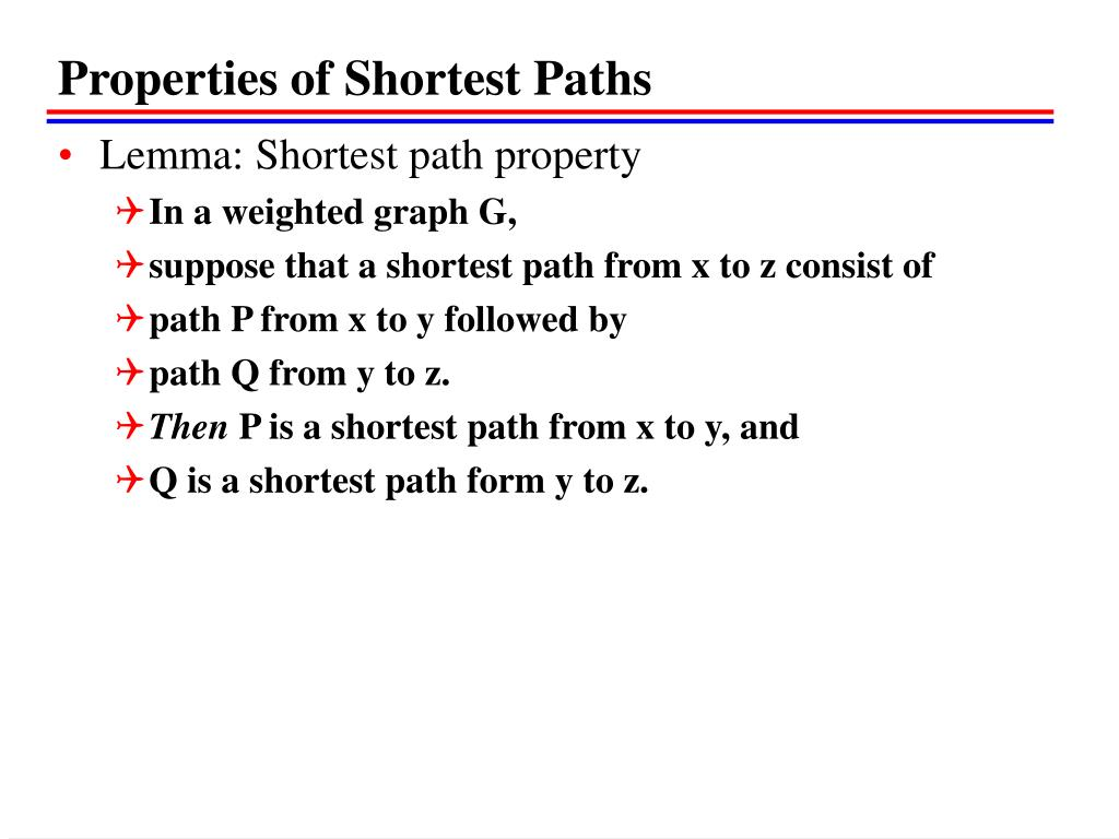 Properties of Shortest Paths
