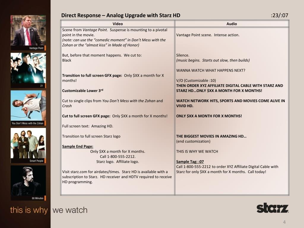 Direct Response – Analog Upgrade with Starz HD
