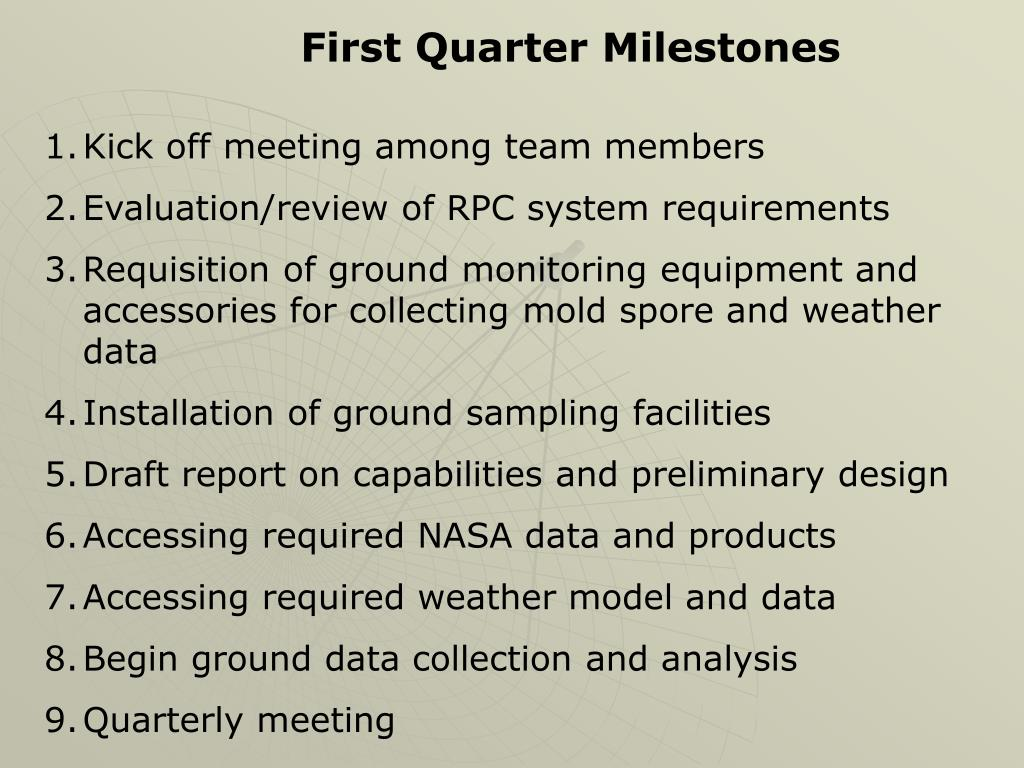 First Quarter Milestones